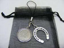 1948 Lucky Sixpence & Horseshoe Phone / Bag Charm - Nice Birthday Gift
