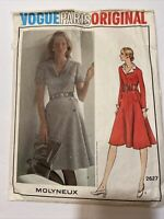 Vtg Vogue Paris Original Molyneux Fitted Flare Dress Sewing Pattern Size 16 2627