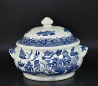 * Churchill * White & Blue Made in England Willow Model Porcelain Covered Tureen