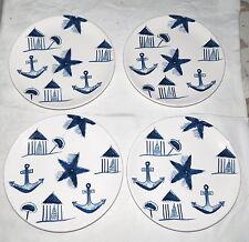 """Starbucks 8.1/4"""" Plates - set of FOUR: Blue & White Nautical Navy Theme"""