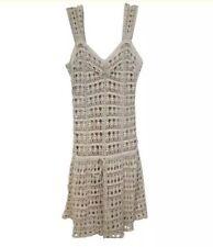 Vince Creme Crochet Lace Sleeveless Dress Size Small wit Slip