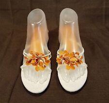 Sam & Libby Strappy Floral Kitten Heel Slide Sandals Women 8M White Orange Italy