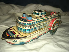 Tin toy boat, QUEEN RIVER Masudaya M-T Modern Toys Tin Litho steamboat