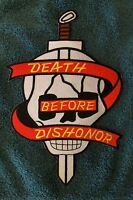 DEATH BEFORE DISHONOR PATCH -USMC ARMY Skull USA Harley Davidson Military Willie