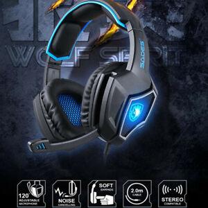 SADES USB LED Spirit Wolf Gaming Headset W/ Microphone Headphone Razer MSN