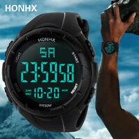 Luxus Männer Silikon Analog Digital Military Sport Uhr LED wasserdichte Watch_z