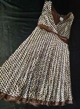 Rabbit Designs Brown Houndstooth Satin Dress Empire Waist Sash Size 14 Gorgeous