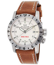 Glycine 3938.111.LB7BH Men's Double Twelve Automatic 40mm White Dial Watch