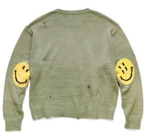 KAPITAL 5G smily distressed crew sweater knit smile new khaki