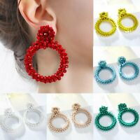 Elegant Women Crystal Geometric Earrings Dangle Drop Jewelry Gift Handmade Charm