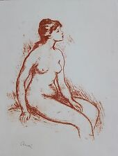 Pierre Auguste Renoir Lithograph Signed Female Nude Seated Sanguine Circa 1900's