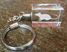 Laser Etched Crystal Rat - Year of the Rat Keyring / Key Ring - BNIB