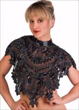 Sequin Beaded FULL Collar Shoulder Shrug Shawl Wrap Applique Peacock Black AB