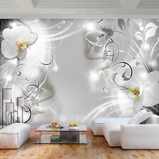 Fleece Photo Wallpaper 3D EFFECT SILVER FLOWER XXL Wall Pictures Decoration Wall...