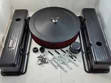 SB Chevy SBC Black 350 Stamped  Logo Engine Dress Up Kit Fits 1958-1986 350 V8