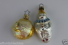 Antique 2 Mercury Christmas Ornaments Ornament Made In Germany Clown and Fish