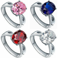 Stainless Steel Oval Cubic Zirconia CZ Solitaire Women's Engagement Wedding Ring