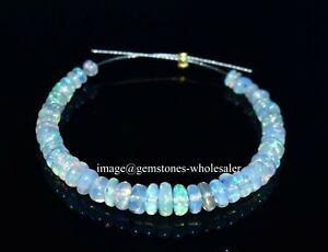 "3-4.5 MM Natural Ethiopian Welo Fire Opal Rondelle Beads 3"" 1 Strand Opal AA15"