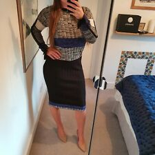 NEXT Sports Luxe Blue Black Grey Stripe Jumper Dress 8 Long Sleeve colourblock