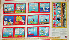 """Tips from the Peanuts Gang Snoopy Charlie Brown Schultz Fabric Book Panel  23"""""""