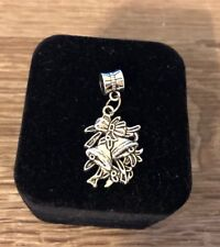 Christmas Bells & Ribbons 925 Sterling Silver Dangle Charm / Carrier Bead
