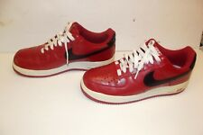 NIKE Air Force 1 Red/ Black/ White Swoosh Low Tops 2011 Men's SIZE 9 1/2