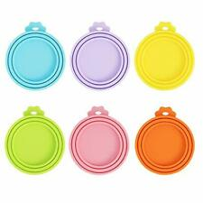 New listing Slson 6 Pack Pet Food Can Cover Universal Silicone Cat Dog Food Can Lids for .