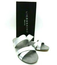 LIEBESKIND BERLIN Damen Pantoletten Sandalen Schuhe Gr. 39 Leder Silber NEU!