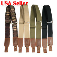 Tactical Two Point Rifle Sling, Cotton Leather Gun Shoulder Straps, USA Seller