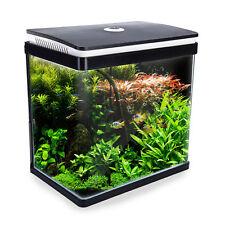 Aquarium Fish Tank Curved Glass RGB LED Light Complete Set Filter Pump 30L