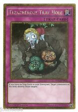 Treacherous Trap Hole PGL3-EN036 Gold Secret Rare Yu-Gi-Oh Card 1st Edition New