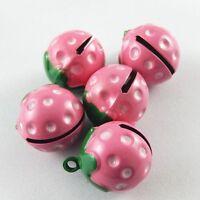 Green&Pink Tone Cute Strawberry Bells Brass Pendants Charms Crafts 10pcs 51925