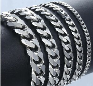 18-25cm Stainless Steel Silver Curb Link Chain Bracelet Necklace 10/8/6/4/3mm C5