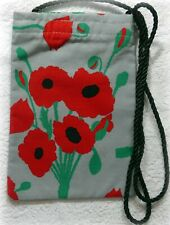 POPPY WILDFLOWER DESIGN COTTON FABRIC SMART PHONE POUCH SANDRA COEN PRINT
