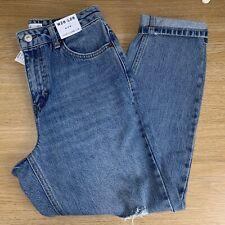 BNWT Topshop Mid Blue Ripped Mom Jeans - W28 L28 - UK 10 Petite