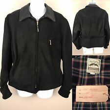 Aero Leathers New Black Deerskin Suede Vintage 1930's Half belt Jacket Sz 44