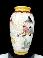 """CHINESE ART POTTERY PAINTED CRACKLE STYLE HUNTING SCENE 6"""" VASE"""