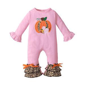 Infant Baby Girls Halloween Pumpkin Long-Sleeved Ruffles Leopard Romper Jumpsuit