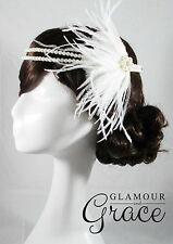 Vintage wedding Gatsby 1920s Flapper White headband feather fascinator headpiece