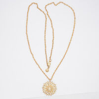 J.CREW JEWELRY MATTE GOLD PLATED CUT CRYSTALS FLOWER PENDANT LONG CHAIN NECKLACE