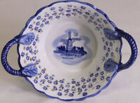 Elesva Holland EH Reticulated Delft Blue Bowl Dish Windmill Cutout Hearts Dutch