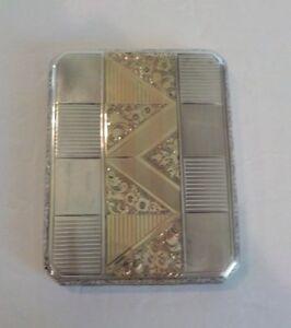 European.800 Silver & Gold Engraved Art Deco Cigarette Case, c. 1930