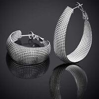 2 elegante Creolen Ohrringe Ohrstecker 925 Sterling Silber plattiert edel Netz