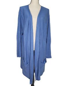 J Jill XLP Sweater Open Front Cardigan Duster Blue Linen Blend High Low Pockets