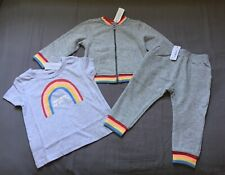 Baby Girl Size 2 2T Gymboree Gray Rainbow Bomber Jacket Jogger Pants & Tee Top