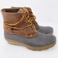 Sperry Womens Size 8.5 Saltwater Wedge Duck Rain Boots Brown Lace Up