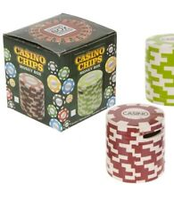Ceramic Casino Poker Chip Money Box - Red and White Novelty Gift