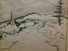 Quebec Landscape Drawing Jewish Artist PAINTED BY WAR SURVIVER