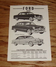 1950 Ford Factory Delivered Prices Sales Brochure 50 DeLuxe Custom