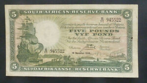 South Africa Banknote - 1936 £5 gVF (P86b)